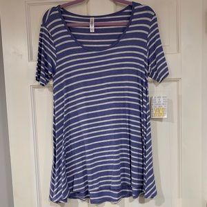 LuLaRoe blue and white striped Perfect T XXS NWT